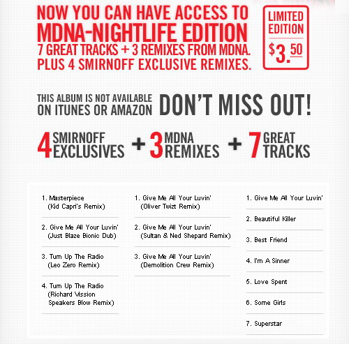 Madonna - The Smirnoff MDNA Nightlife Edition Remix Album