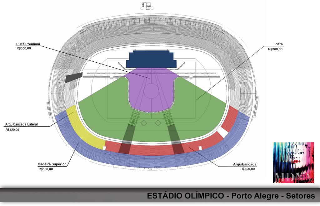 Madonna MDNA World Tour 2012 - Madonna no Brasil - mapa Porto Alegre