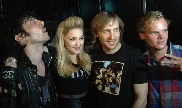 Madonna with David Guetta, Xavier de Rosnay from Justice and Avicii backstage at UMF.